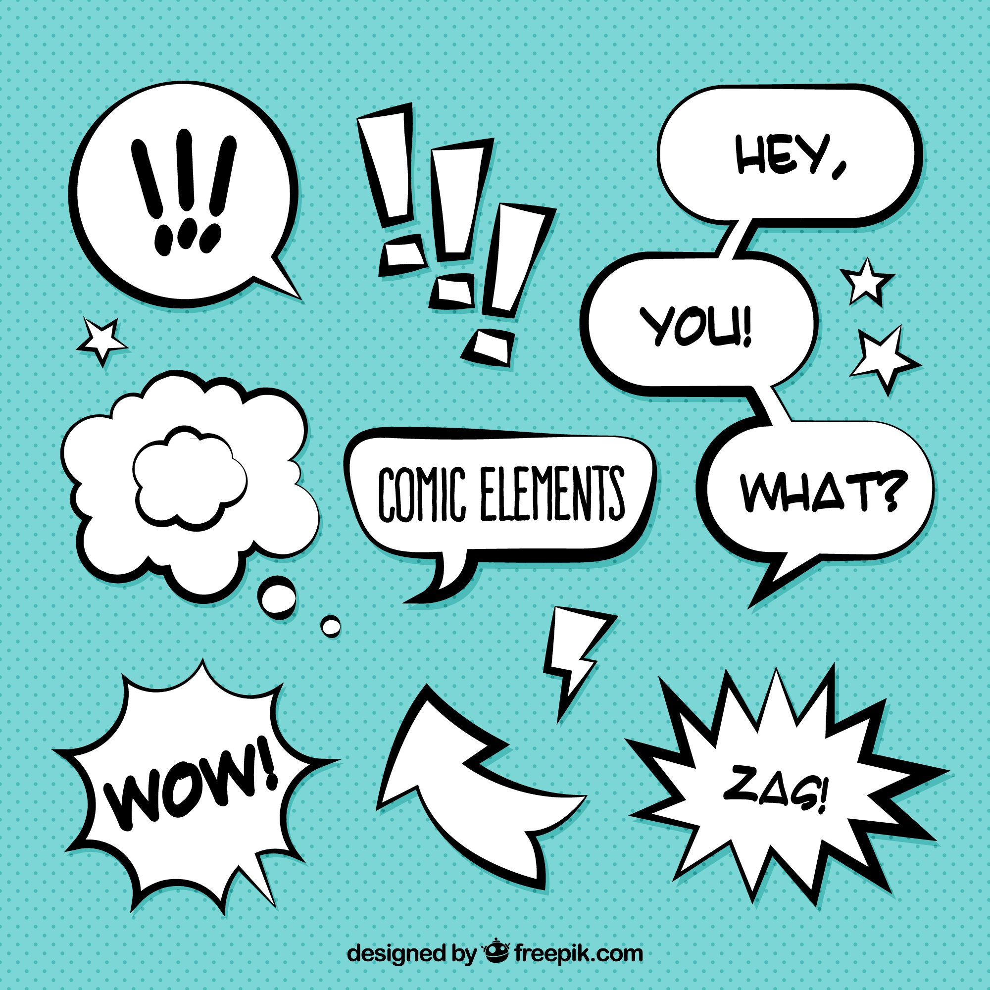 Pack of onomatopoeia and comic dialogue balloons