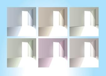 Pack of open doors vector