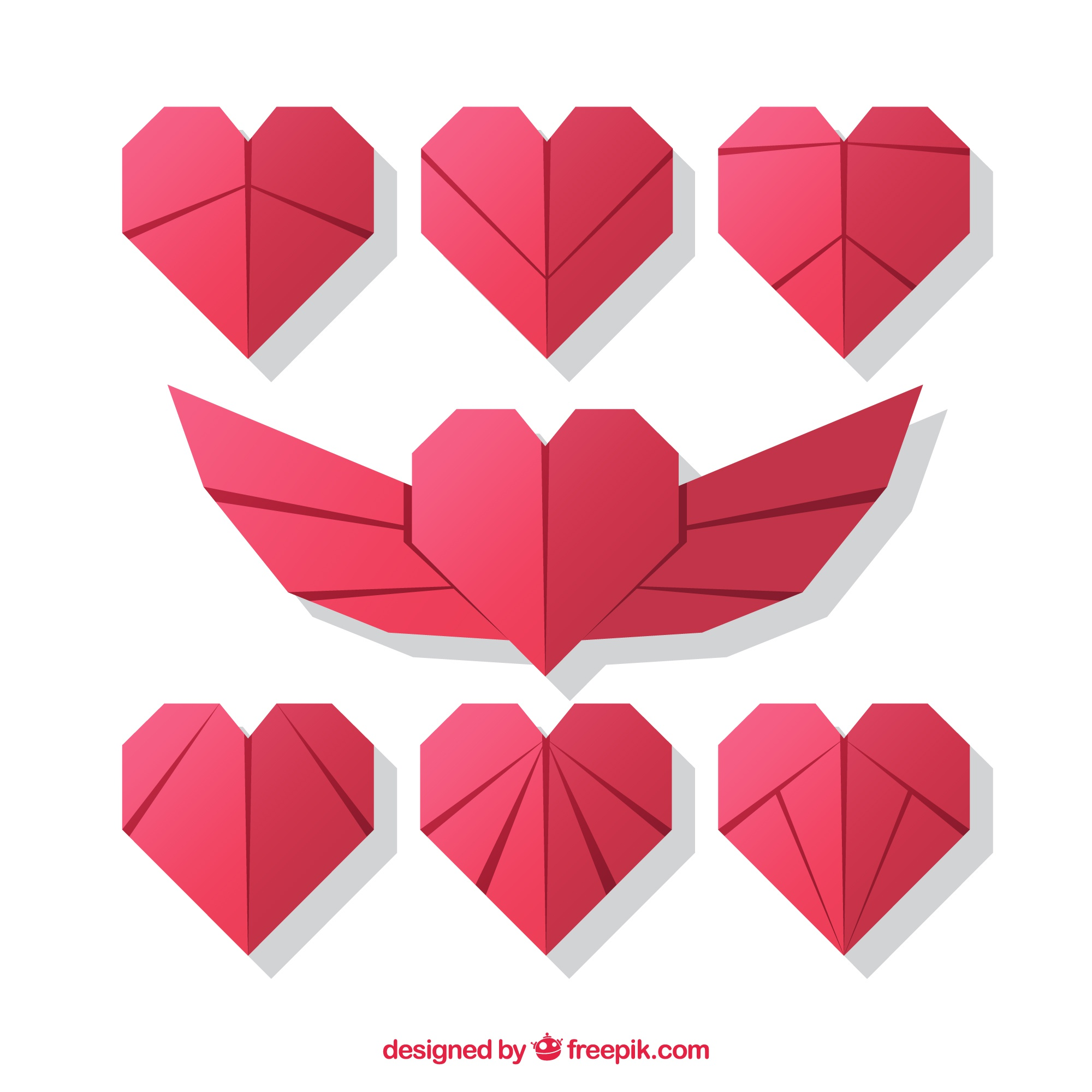 Pack of origami hearts