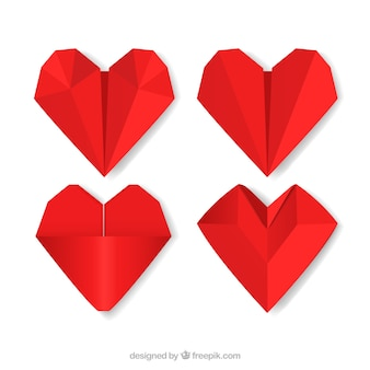 Pack of origami red hearts