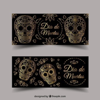 Pack of ornamental banners for day of the dead
