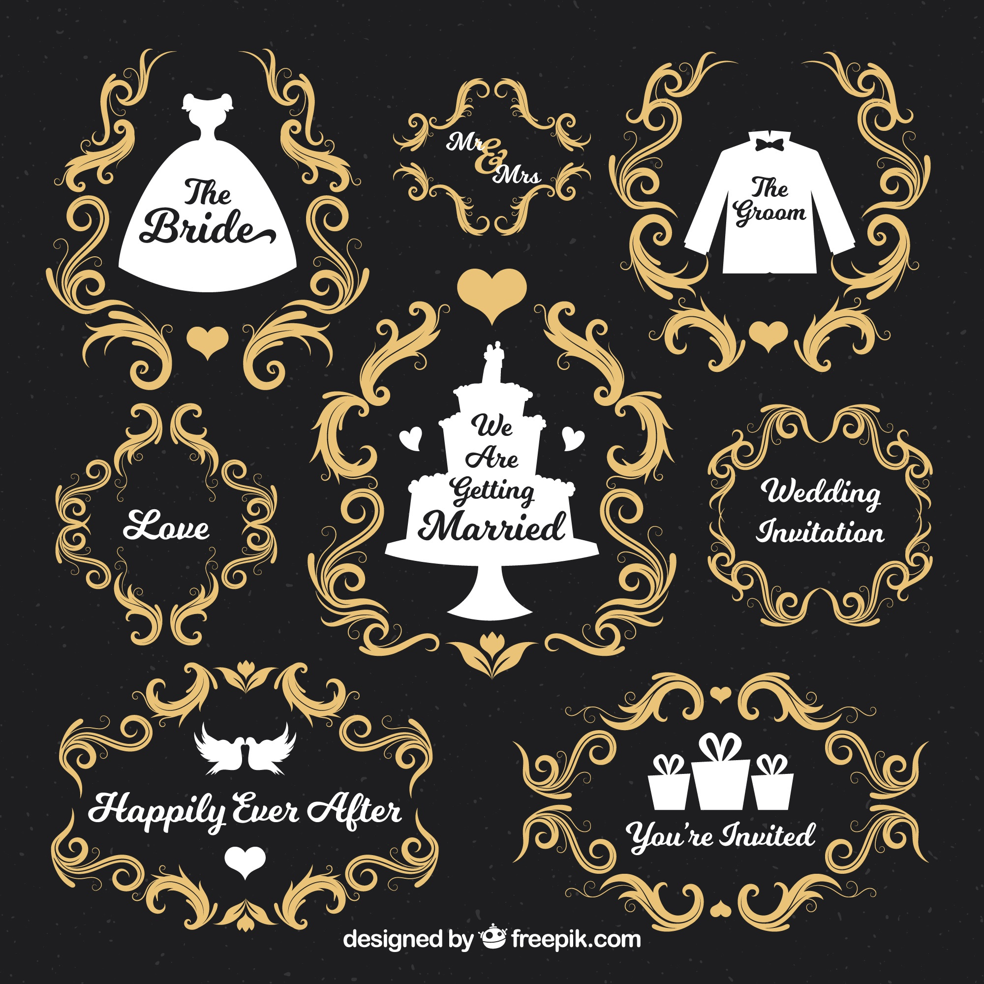 Pack of ornamental decoration for weddings
