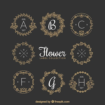 Pack of ornamental floral labels