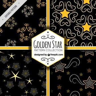 Pack of ornamental golden stars patterns