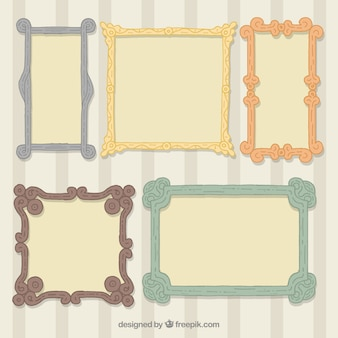 Pack of ornamental photo frames in vintage style