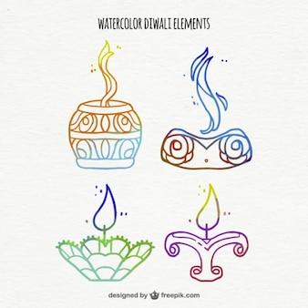 Pack of ornamental watercolor diwali candles
