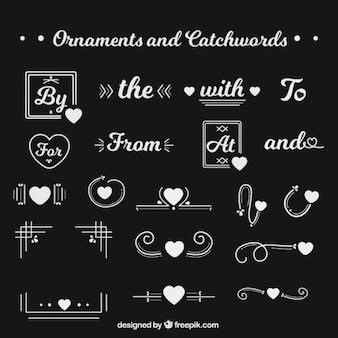 Pack of ornaments and catchwords with hearts