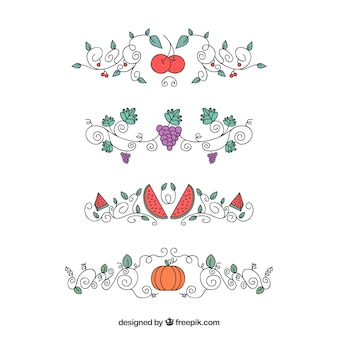 Pack of ornaments with hand drawn fruits and vegetables