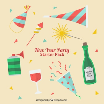 Pack of party elements for new year