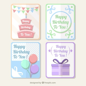 Pack of pastel birthday cards