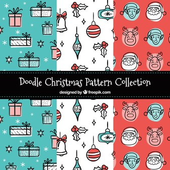 Pack of patterns with christmas drawings