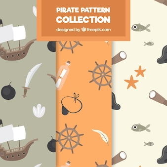 Pack of patterns with pirate objects