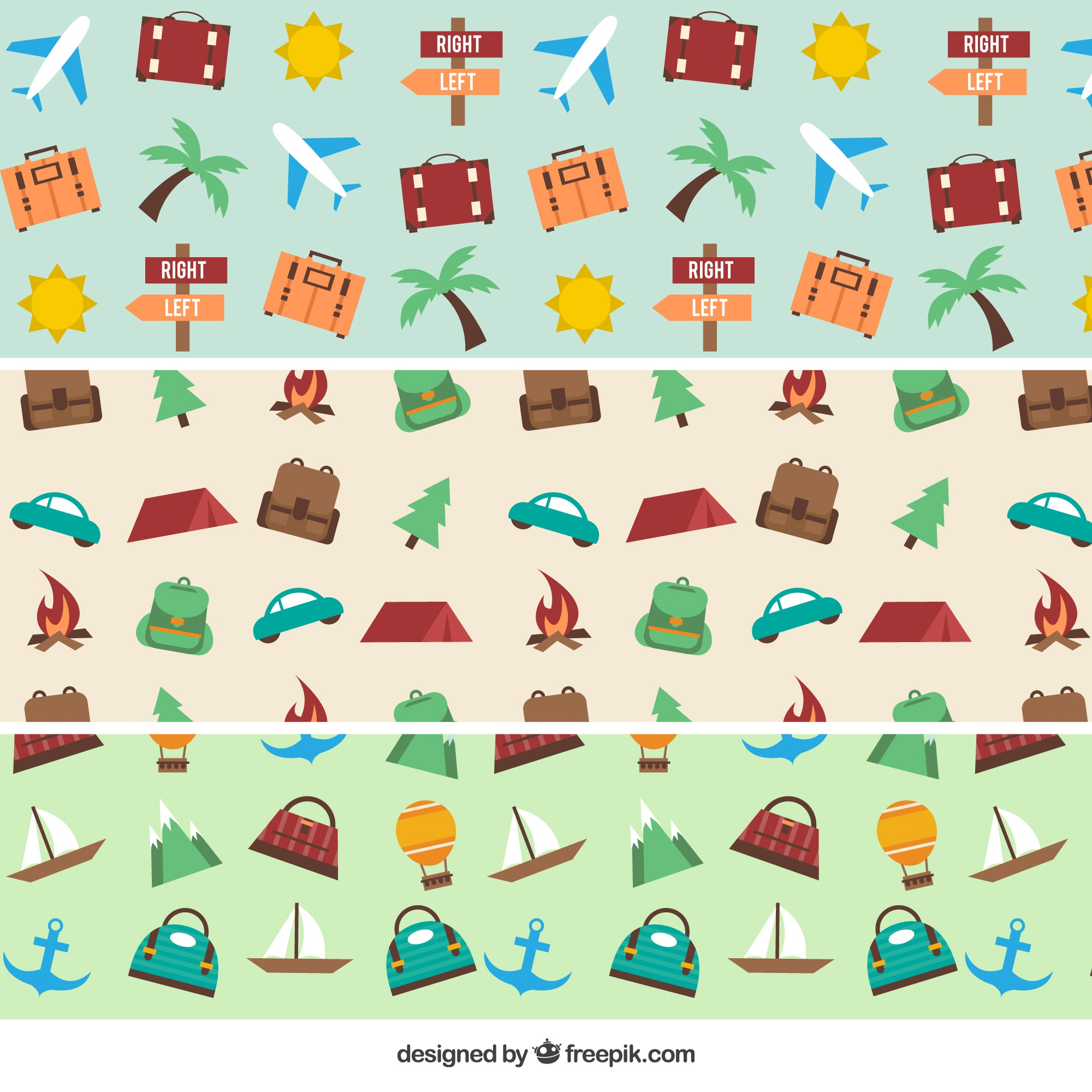 Pack of patterns with trip objects in flat design