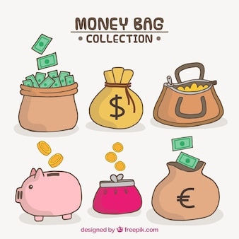 Pack of piggy bank and hand-drawn purses