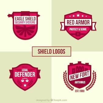Pack of pink shield logos