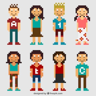 Pack of pixelated teenagers