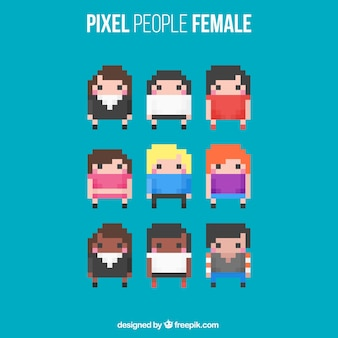 Pack of pixilated women