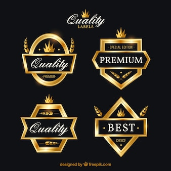 Pack of premium retro golden stickers