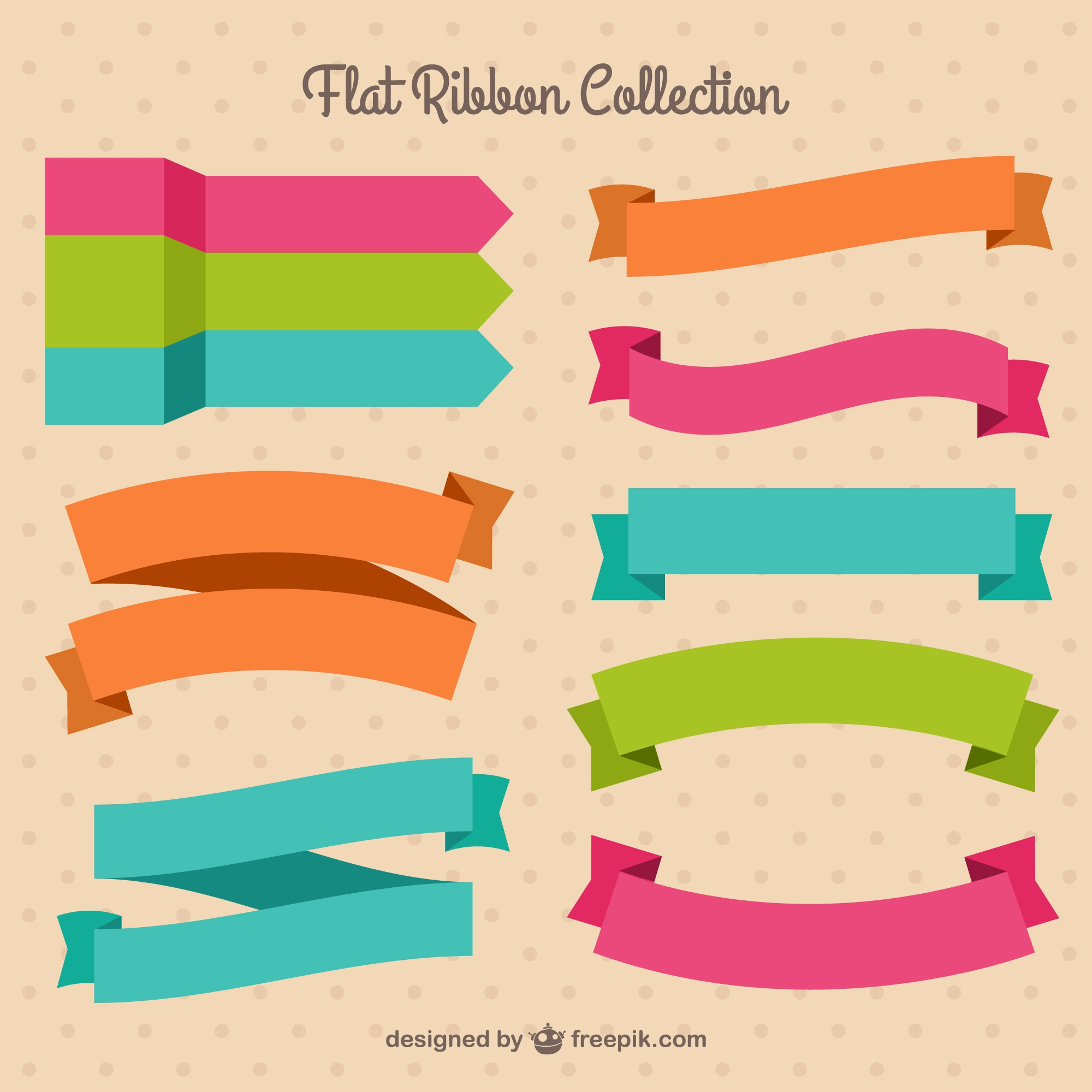 Pack of pretty colored ribbons in flat design