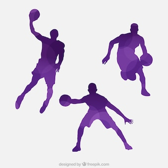 Pack of purple basketball players silhouettes