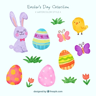 Pack of rabbits and watercolor easter eggs