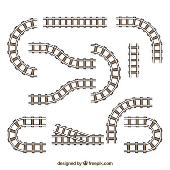 Pack of railroad tracks with variety of forms