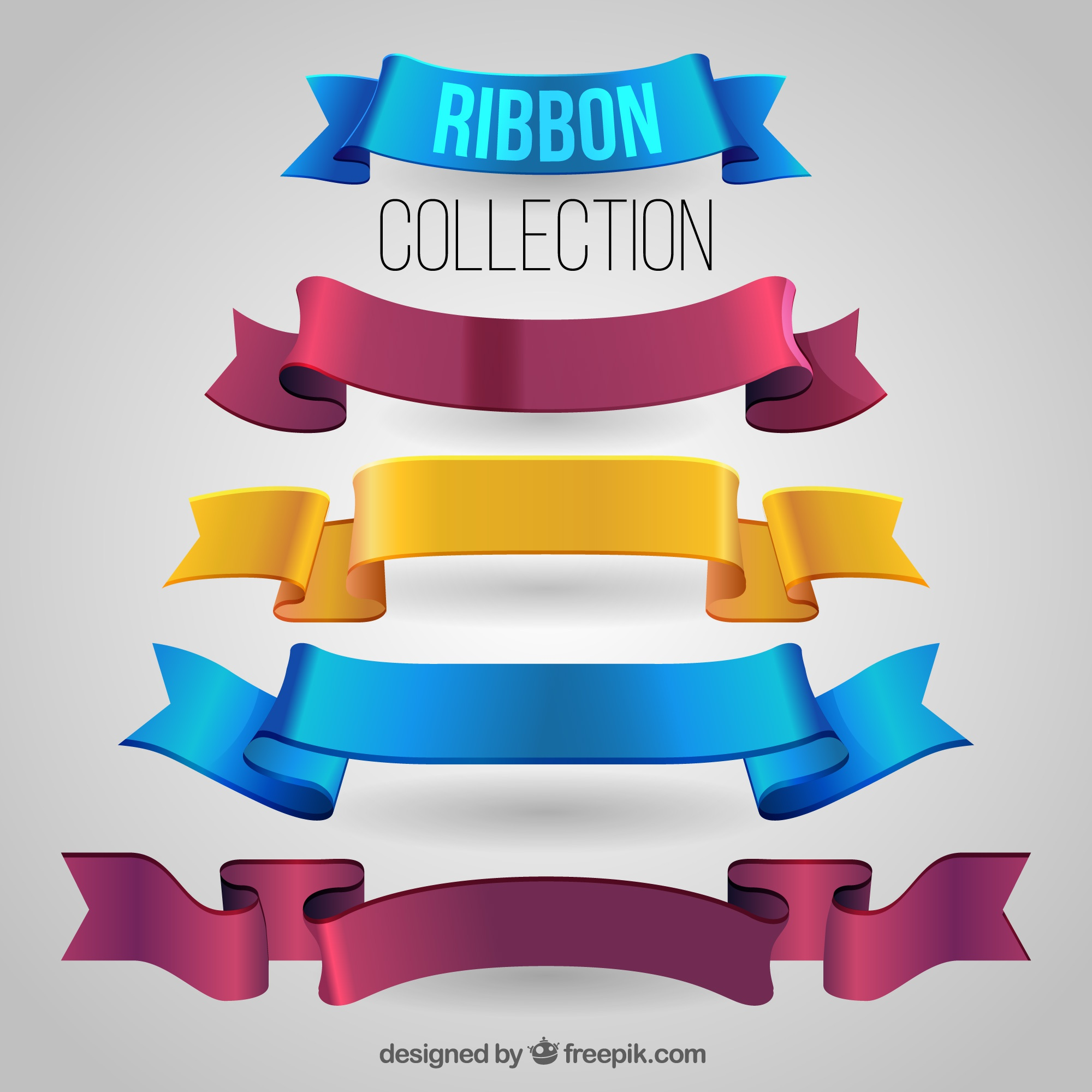 Pack of realistic ribbons