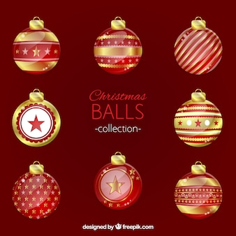 Pack of red and golden christmas balls