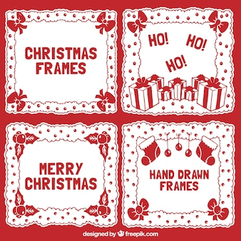 Pack of red christmas frames