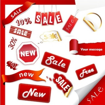 Pack of red glossy stickers and labels