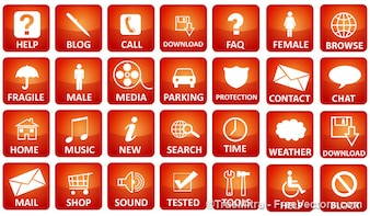 Pack of red media icons