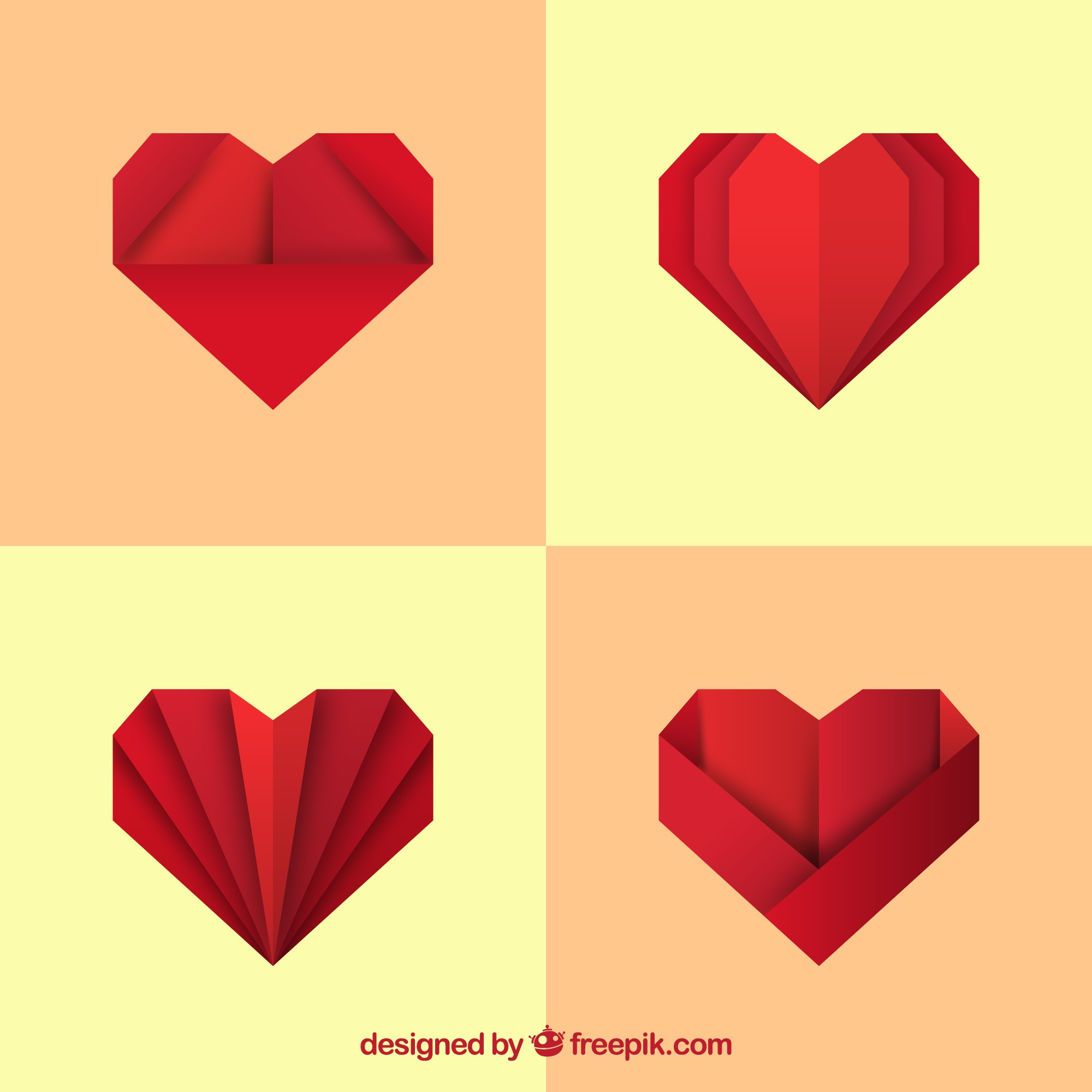 Pack of red origami hearts