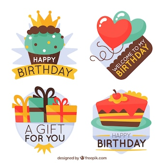 Pack of retro birthday stickers