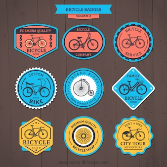 Pack of retro cute colored bike badges