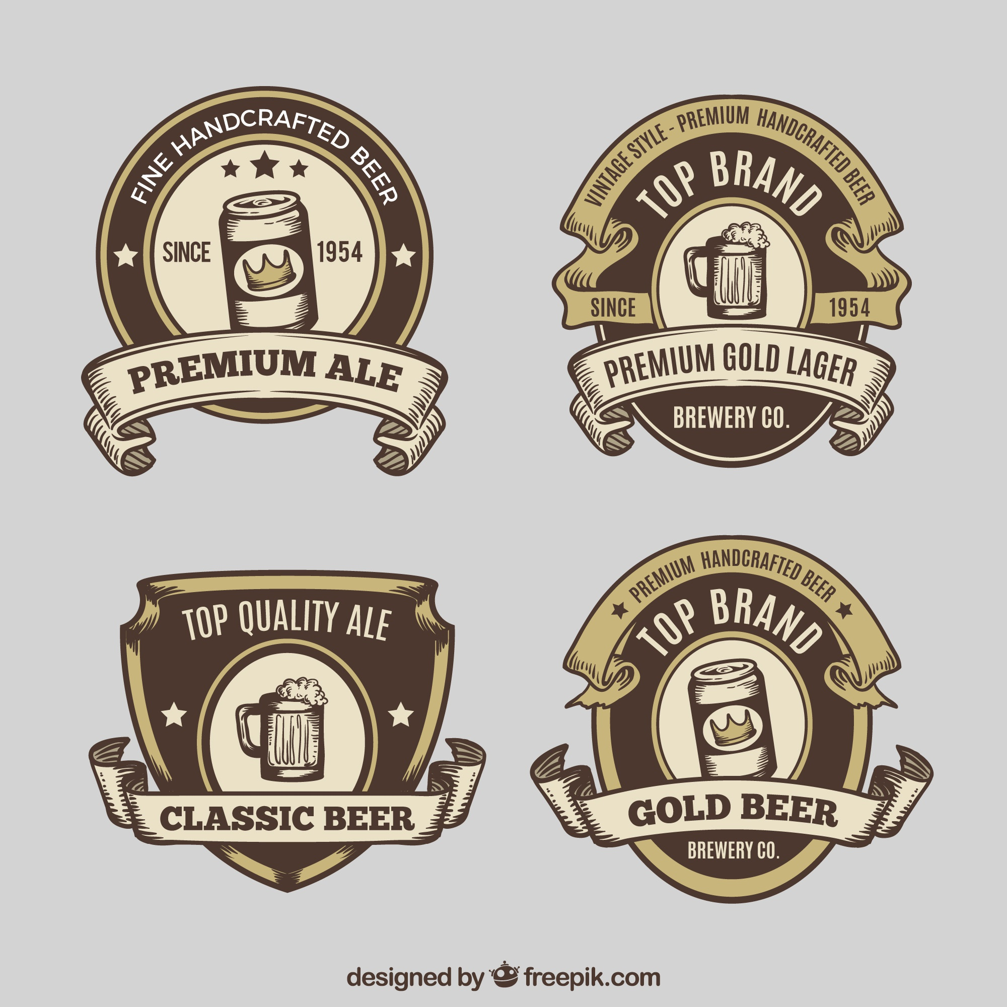 Pack of retro hand drawn beer labels