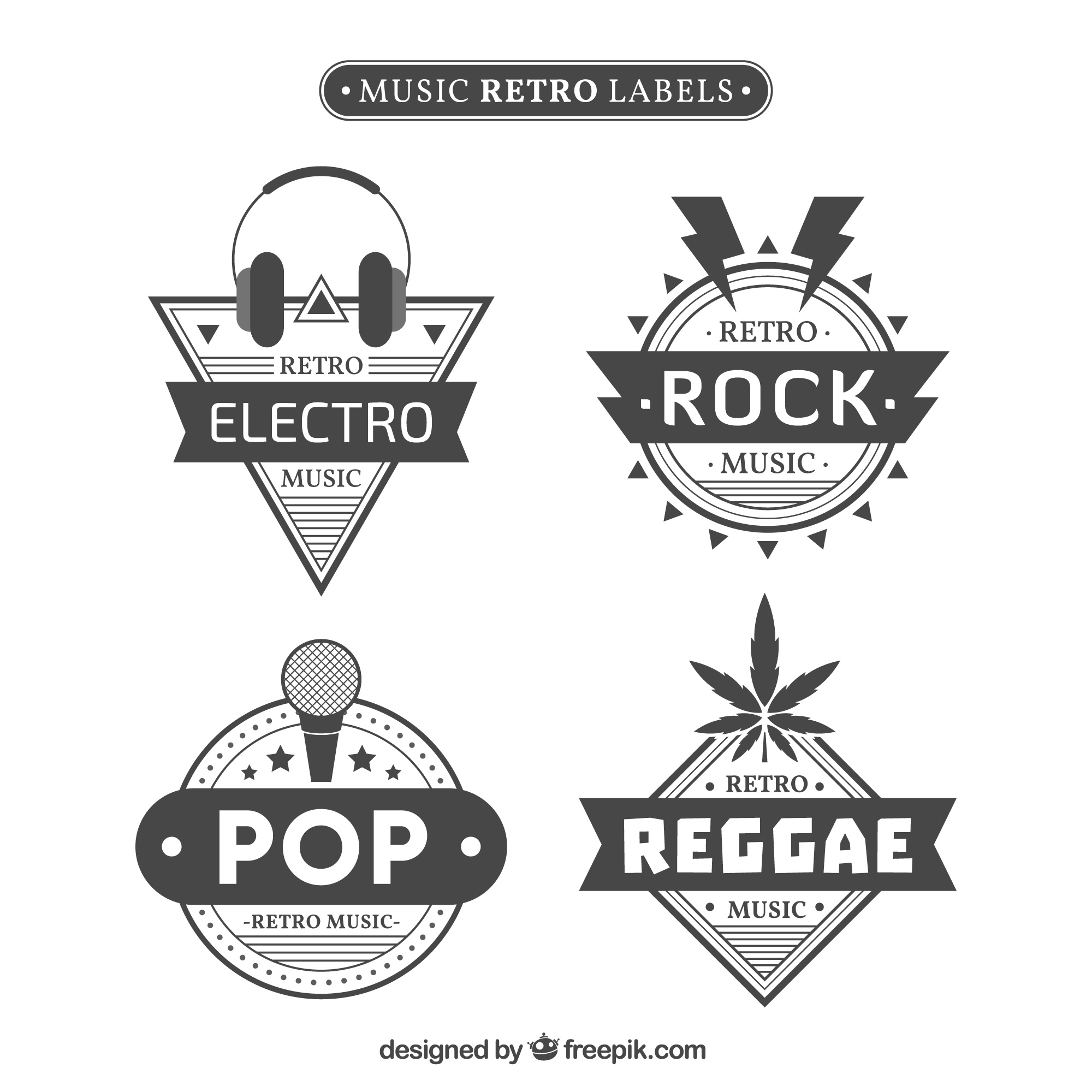 Pack of retro musical style stickers