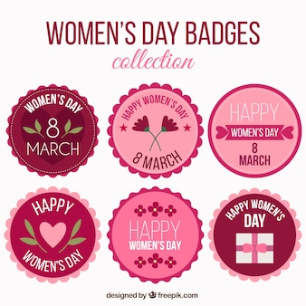 Pack of retro women's day stickers