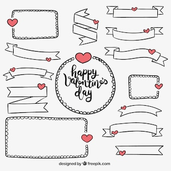 Pack of ribbons and hand drawn valentine frames