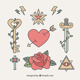 Pack of romantic tattoos in linear style
