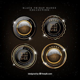 Pack of round badges with golden details