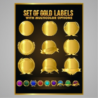 Pack of round golden badges with multicolor options
