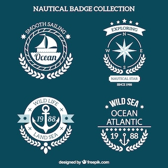 Pack of round nautical badges in flat design