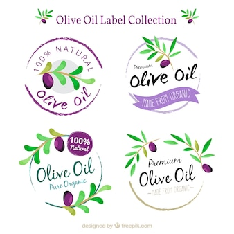 Pack of round olive oil labels