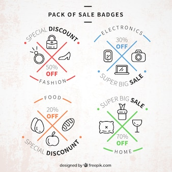 Pack of sale badges with color details