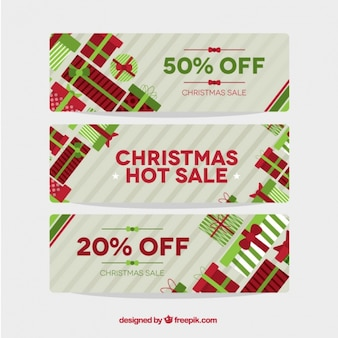 Pack of sale banners with christmas gifts