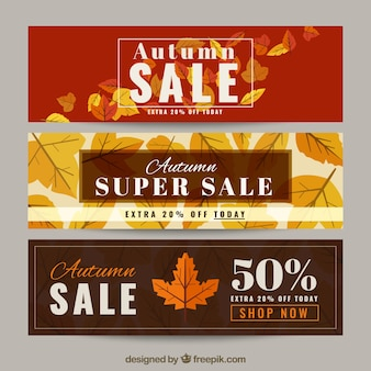 Pack of sale banners with dry leaves