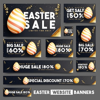 Pack of sale banners with golden streamer for easter day
