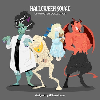 Pack of scary hand drawn halloween characters