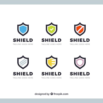 Pack of shield logos in flat design