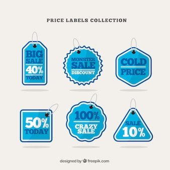 Pack of six blue and white labels with great discounts